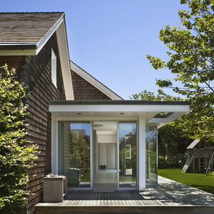 Inspiration for a victorian single front door remodel in New York with a glass front door