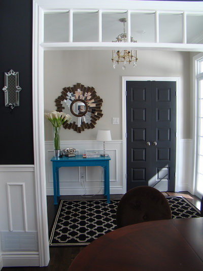 OK, Letu0027s State The Obvious Right From The Start: Black Doors Are Elegant.  A White Door Would Have Looked Charming And Cottage Y In This Entry Hall.