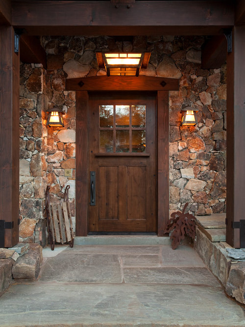 Stone around front door home design ideas pictures for Traditional wooden door design ideas