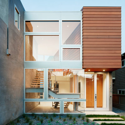 Inspiration for a modern entryway remodel in Los Angeles with a glass front door