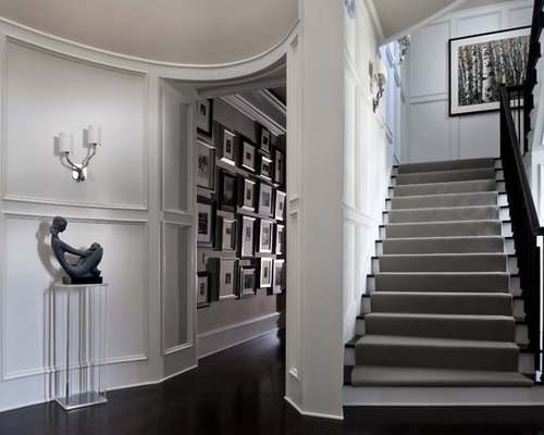 Grey And White Carpet Runner: Grey Stair Home Design Ideas, Pictures, Remodel And Decor