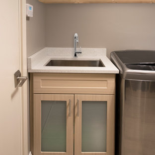 Entryway Remodel: Modern Mudroom & Laundry Room Cabinetry