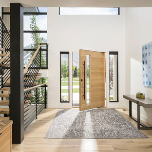 Example of a huge trendy light wood floor and beige floor entryway design in Salt Lake City with white walls and a light wood front door