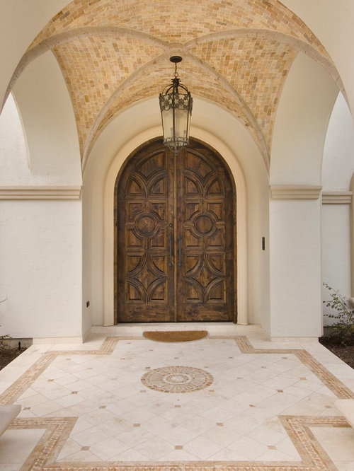 Double Front Door   Mediterranean Double Front Door Idea In Houston With A  Dark Wood Front Part 71