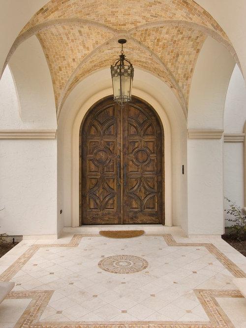 Double Front Door   Mediterranean Double Front Door Idea In Houston With A  Dark Wood Front Part 71