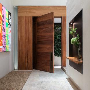 Идея дизайна: большая входная дверь в современном стиле с белыми стенами, мраморным полом, поворотной входной дверью и входной дверью из дерева среднего тона