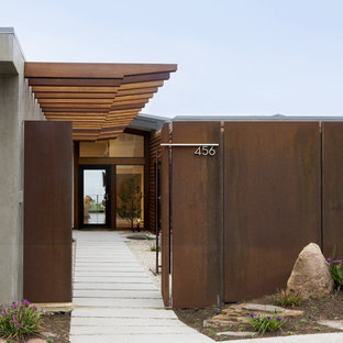 Design ideas for a midcentury entrance in Orange County.