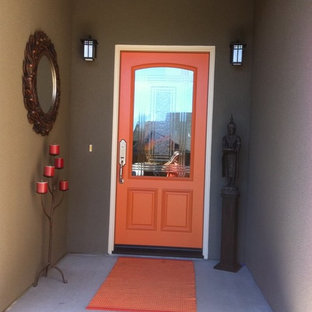 Mid-sized transitional entryway photo in Other with brown walls and a red front door