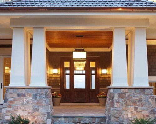 Craftsman stone entry pillars ideas pictures remodel and for Craftsman stone