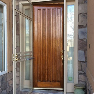 Entryway - mid-sized rustic entryway idea in Denver with a medium wood front door