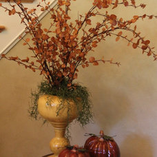 Traditional Entry Fall Leaf Arrangement in Foyer