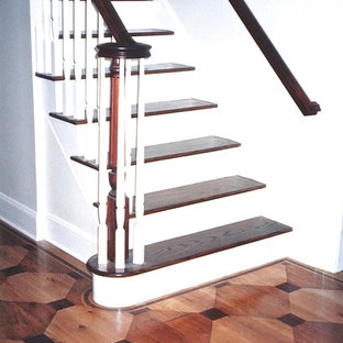 Faux wood inlay painted floor over wide plank pine.