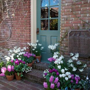 Источник вдохновения для домашнего уюта: входная дверь в классическом стиле с одностворчатой входной дверью и синей входной дверью