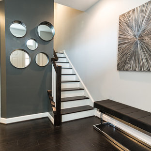 Inspiration for a small contemporary dark wood floor entryway remodel in DC Metro with gray walls and a white front door