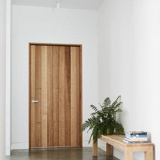 Aménagement d'une entrée moderne avec béton au sol, une porte simple, une porte en bois brun, un couloir, un mur blanc et un sol gris.