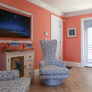 Идея дизайна: вестибюль среднего размера в морском стиле с оранжевыми стенами, полом из керамогранита, двустворчатой входной дверью, белой входной дверью и бежевым полом