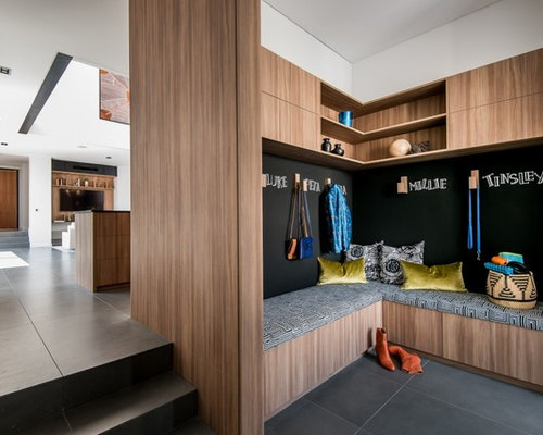 Contemporary Mudroom In Perth With White Walls.