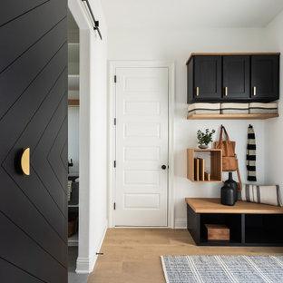 Неиссякаемый источник вдохновения для домашнего уюта: маленький тамбур в стиле модернизм с белыми стенами, светлым паркетным полом, раздвижной входной дверью и черной входной дверью