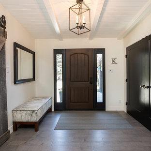 Aménagement d'une porte d'entrée contemporaine avec un mur blanc, une porte simple, une porte en bois foncé et un sol gris.