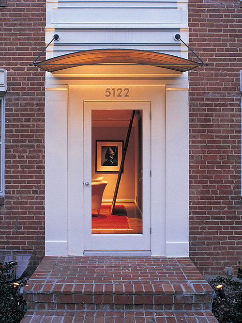 Entryway - contemporary entryway idea in DC Metro with a glass front door & Front Door Canopy | Houzz