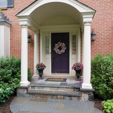 Formal Entry Portico with Stone Porch, Landing and Walkway