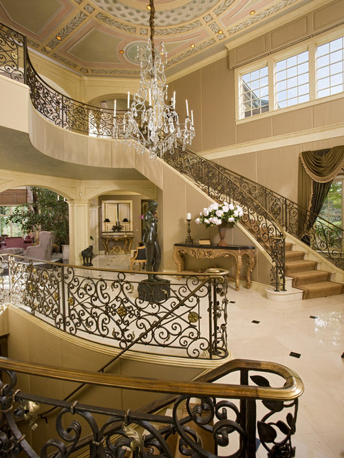 Delightful Example Of A Huge Classic Foyer Design In Minneapolis With Beige Walls