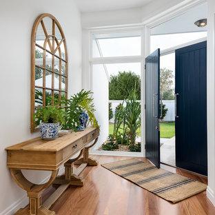 Modelo de distribuidor costero, grande, con paredes blancas, suelo de madera en tonos medios, puerta doble y puerta azul