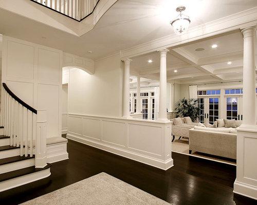White wall dark floor houzz for Living room designs with dark hardwood floors