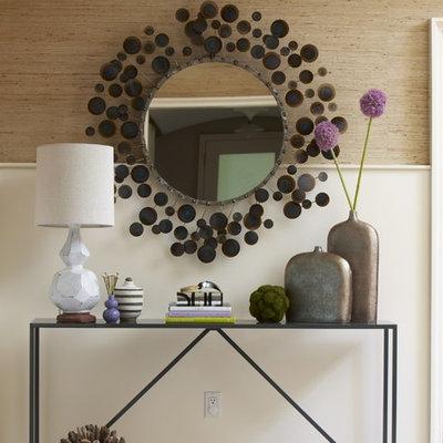 Foyer - contemporary ceramic tile foyer idea in Boston with beige walls