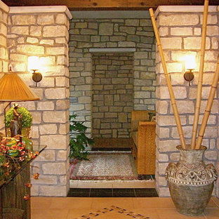 Inspiration for a mediterranean entryway remodel in Cleveland