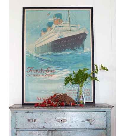 Traditional Entry French Vintage Poster in White California Beach House