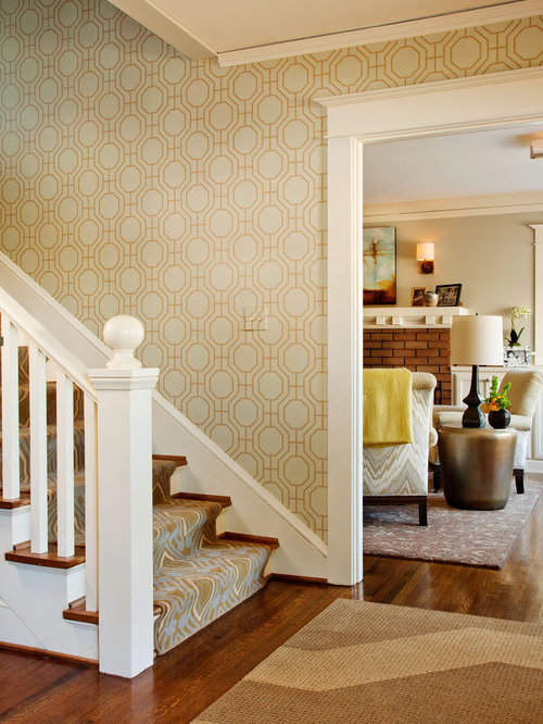 Stair wallpaper home design ideas pictures remodel and decor for Wallpaper for home entrance