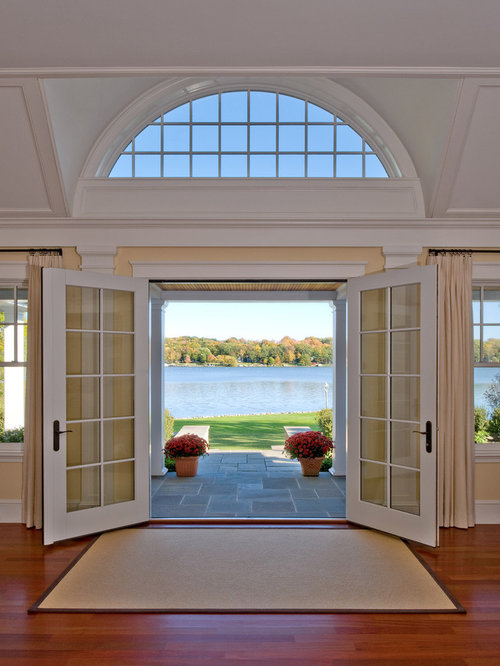 Inspiration For A Timeless Double Front Door Remodel In Boston With A Glass  Front Door