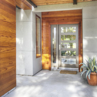 Foto di una porta d'ingresso minimal di medie dimensioni con una porta grigia, pareti grigie, pavimento in cemento, una porta singola e pavimento grigio