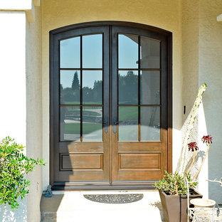 Entryway - traditional entryway idea with a dark wood front door