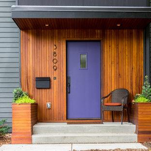Ispirazione per un ingresso o corridoio contemporaneo con pareti grigie, una porta singola e una porta viola