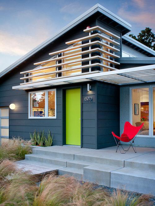 Blue House Color Midcentury Exterior Photos   Houzz