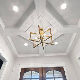 アトランタの中くらいの両開きドアモダンスタイルのおしゃれな玄関ドア (白い壁、濃色無垢フローリング、濃色木目調のドア、茶色い床、格子天井、パネル壁) の写真