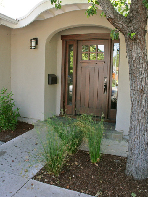 Craftsman Entryway Idea In San Francisco With A Dark Wood Front Door