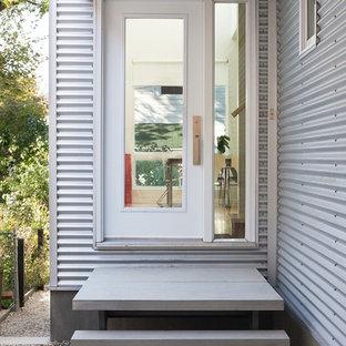 Moderne Haustür mit Einzeltür und Glastür in Ottawa