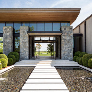 Esempio di un'ampia porta d'ingresso minimal con una porta a pivot, una porta in metallo, pareti grigie, pavimento in cemento e pavimento grigio