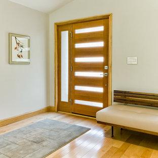 Diseño de puerta principal minimalista, grande, con suelo de madera clara, puerta simple, puerta de madera oscura y paredes beige