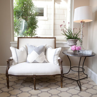 Example of a classic entryway design in Houston with beige walls