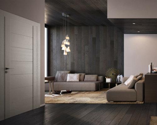 Hall d\'entrée moderne avec un mur marron : Photos et idées déco de ...