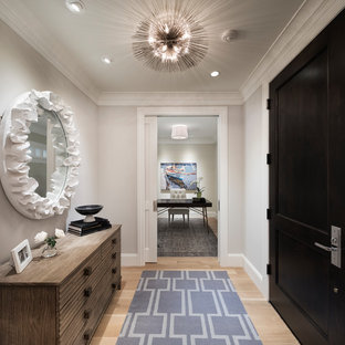 Example of a small transitional light wood floor and beige floor entryway design in Minneapolis with gray walls and a black front door