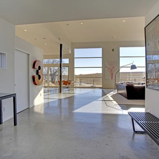 Example of a minimalist concrete floor entryway design in Minneapolis with white walls