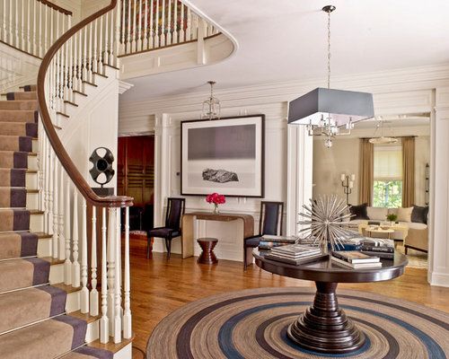 Foyer Designs Ideas modern interior decorating with a vertically striped wallpaper pattern coat rack and wall art Best Transitional Foyer Design Ideas Remodel Pictures Houzz