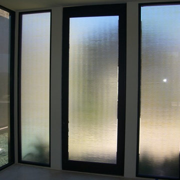 Glass Doors - Frosted Glass Front Entry Doors - GOLDEN WAVES 3D W/ COLOR