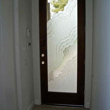 Glass Doors - Frosted Glass Front Entry Doors - METAMORPHOSIS III 3D