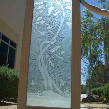 Glass Doors - Frosted Glass Front Entry Doors - SAPLING 3D